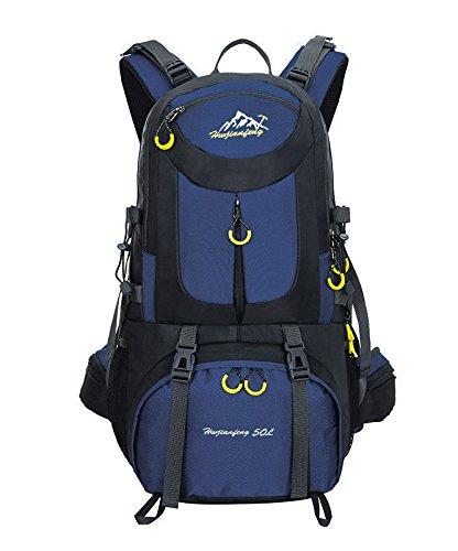 40L/50L/60L Beigsteigen Backpack Outdoor Leicht Fahrrad Rucksack Klettern Wanderrucksack Reise Sport Tagesrucksack Camping Trekkingrucksack mit Regenschutzhülle Wasserdicht (Dunkelblau, 50L)
