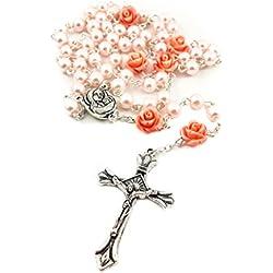 Nazareth Store Collier Rosaire Perle Rose Catholique 6pcs Notre Médaille Terre Sainte Rose & Croix
