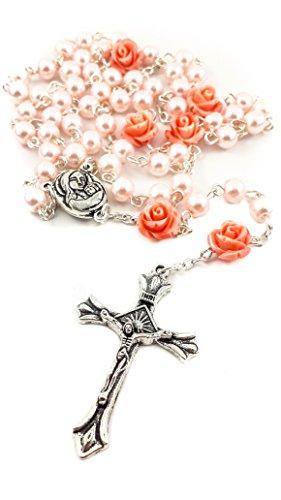 Collar de Rosario con Cuentas de Perlas Rosadas Católicas Nuestra Rosa, Medalla de Tierra Santa y Cruz