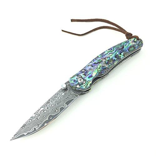 POLAR BEAR ® Damast Taschenmesser Klappmesser Damaststahl Messer Outdoor Damastmesser Folder Knife 7cm Klinge (Abalone)