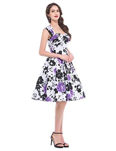 Belle Poque 50er Vintage Retro Rockabilly Kleid Sommerkleid knielang in mehreren Farben BP024-1
