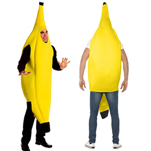 Wawer Erwachsene Obstbanane Kleid Tanzkleid Herren Damen Banane Cosplay Kostüm Karneval Charakter Party Bar Bühne (M, Gelb)