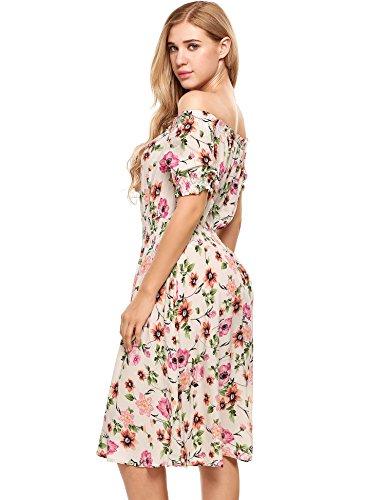 Beyove Damen Schulterfrei Kleider Elastische Taille Kleid ...
