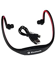 Defloc Bluetooth Headphones with Mic SD Card Slot BS19C (Black-Red)