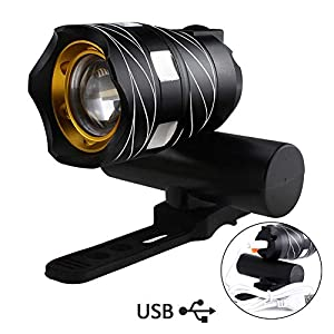 Yungo USB Rechargeable Front Bicycle Light Waterproof with Zoom Beam Focusing, Mini Led Super Bright Flashlight with Built-in Lithium Battery for Mountain Cycling, Camping, Camping