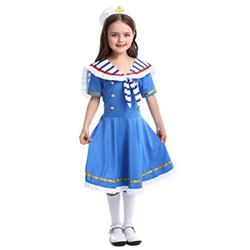 Kostüm Süße Mädchen Sailor - CJJC Süßes Mädchen Navy Anzug, Kreative Brave Sailor Geraffte Kleider Mit Hut, Cosplay Festival Party School Performance Kostüm, Blau L