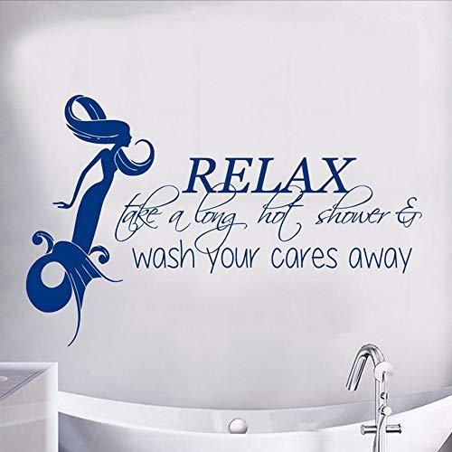 Xzfddn Meerjungfrau Wandtattoo Zitat Entspannen Sie Sich Eine Lange Heiße Dusche Vinyl Aufkleber Mädchen Badezimmer Dekor