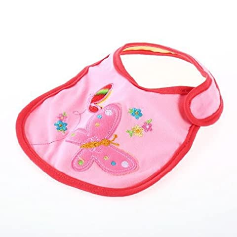 SODIAL(R) Rosa Schmetterling Baby Laetzchen Speichel Tuch (Schmetterling Tuch Lätzchen)