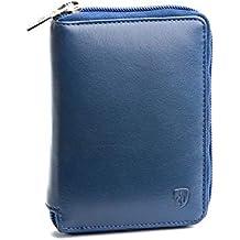 b9d8d56f93 Portafoglio uomo con cerniera in vera pelle Nappa zip esterna a giro e  portamonete DV Blu
