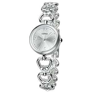 Generic Woman's Heart Rhineston Pattern Steel Band Quartz Wrist Watch Color White