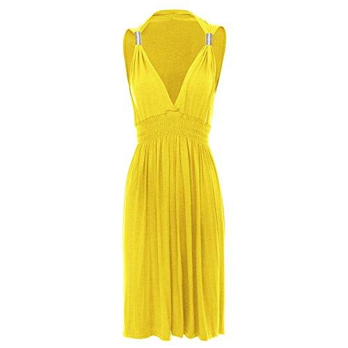 Oops Outlet - Robe Femme Courte Grecque Jersey Basique Ressort aux Bretelles Sans Manche Grande Taille Jaune