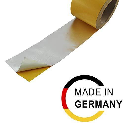 3m Alu Fiberglas Gewebe Hitzeschutz band Klebeband selbstklebend bis ca. 550°C   100mm breit