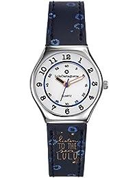 LuluCastagnette - 38786 - Montre Fille - Quartz Analogique - Cadran Blanc - Bracelet Cuir Multicolore