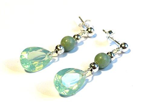 "♥ Malaysian JADE ♥ - wunderschöne Ohrringe, Ohrstecker Farbe: grün, mint, silber - Material: versilbert, Acrylglas, Glas - Original \""vom Chiemsee\"" ©"