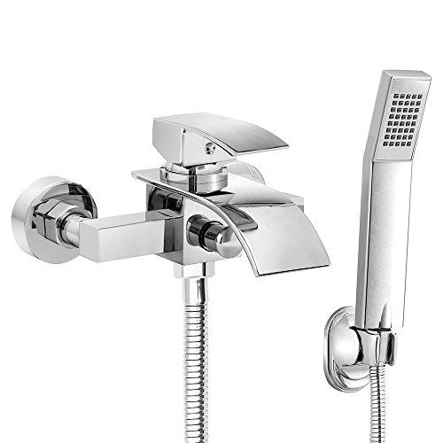 Yahee verchromte Wannenarmatur Badewannenarmatur Armatur Dusch-Set Brause Wasserhahn inkl. Wandhalterung mit Handbrause