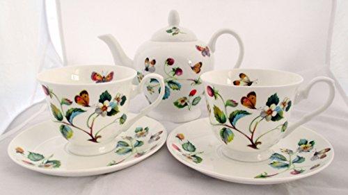 Fraises et Papillons Lot de 2 bols à thé en porcelaine décoré à la main au Royaume-Uni-Service à thé avec 1 théière, 2 tasses, 2 soucoupes &livraison gratuite UK
