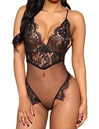 70d321ccc1db8 Aranmei Lingerie For Women Teddy One Piece Lace Babydoll Bodysuit