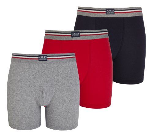 Stretch Cotton Boxer Trunk (Jockey® Herren, Cotton Stretch Boxer Trunk 3er-Pack, 17301733, grau, rot, marine, Größe XL)