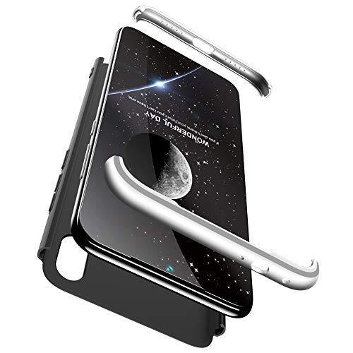 Goyi Xiaomi Redmi Note 7 Hülle, Hülle mit [Displayschutz] 3-In-1 Hart PC Ultra Dünn Handyhülle 360° Stoßfest Anti-Kratzer Schutzhülle Schutz Tasche für Xiaomi Redmi Note 7-Schwarz Silber