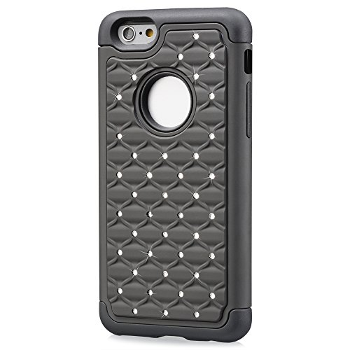 """Fosmon HYBO-SD Star Diamant PC + Silikon Case Cover hülle für Apple iPhone 6 (4.7"""") - Weiß/Schwarz Schwarz"""
