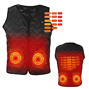 41tg%2BVFtkaL. SS300  - FZ-Kostum Heated Vest, Washable Size Adjustable USB Charging Heated Clothing Warm Vest for Hiking Camping