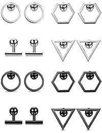 BESTEEL 8Pares Acero Inoxidable Pendientes Studs para Hombre Mujer Aretes Anillo Triángulo Pendientes Oreja Piercing Cartilago