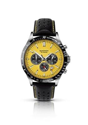 SEKONDA 3378.27 - Reloj para caballero de cuero Resistente al agua amarillo de SEKONDA