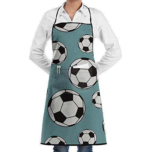 GDESFR Apron with Pock,Soccer Ball Sport Fashion Waterproof Durable Apron with Pockets for Women Men Chef