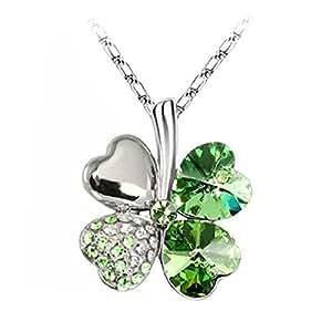 Calistouk Girls Sweet Fashion cristallo STRASS ciondolo quadrifoglio Green