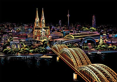 TOPFAY 1PC Scratch Kunst berühmten Stadt-Nachtansicht Dazzling Papier Schabekarton DIY Craft Art Papier Heim Wohnzimmer-Dekoration (Kölner Dom, ohne Werkzeuge)