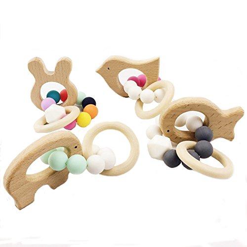 baby tete 4Pcs/lot Bébé Infantile Teether en bois Hêtre Cheval Dentition en bois Montessori Jouets Hochet de bébé Bricolage Bracelet en crochet mâchée Bracelets