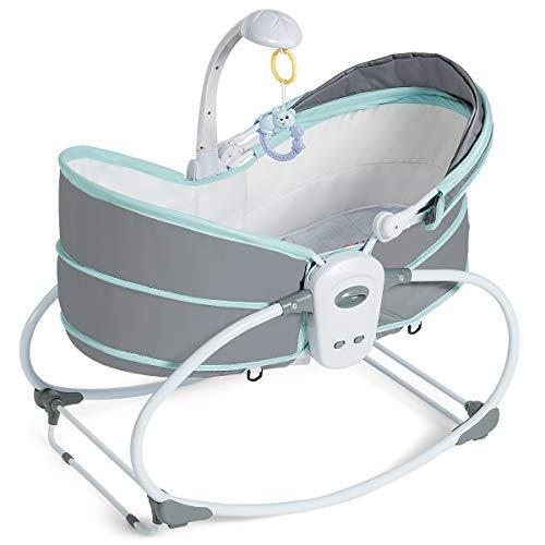 COSTWAY 5 in 1 Babyschaukel, Stubenwagen multifunktional, Babywiege tragbar, Beistellbett, mit Musik und Spielzeug, Babybett, für Neugeborene, Babywippe, Schaukelwiege geeignet für 0-36 Monate (Grün)