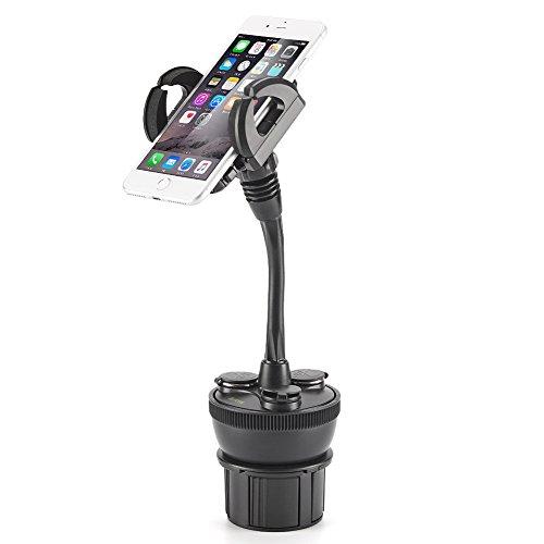 iKross Universal einstellbare Handy Halterung Autoadapter Autoladegerät KFZ PKW für Getränkehalter mit 3 Zigarettenanzünder und 2 USB Ladebuchsen 2.1A, für Smartphone bis 4,1 Zoll