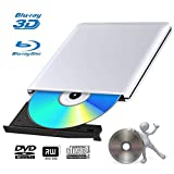 Externes 4k 3D Blu Ray DVD Laufwerk Brenner USB 3.0 Tragbare Ultra Slim BD/CD/DVD RW Player Disc für Windows 10/7/8.1 / Vista/XP/Mac OS Linux, PC