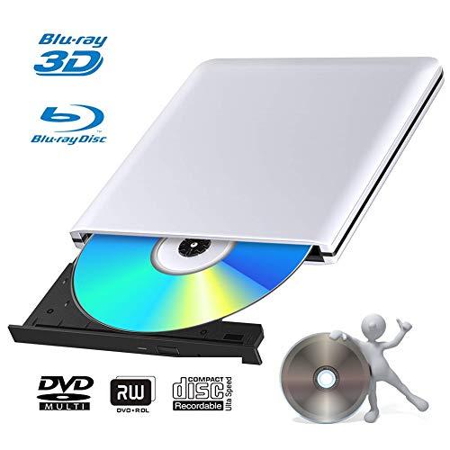 Externes 4k 3D Blu Ray DVD Laufwerk Brenner USB 3.0 Tragbare Ultra Slim BD/CD/DVD RW Player Disc für Windows 10/7/8.1 / Vista/XP/Mac OS Linux, PC -