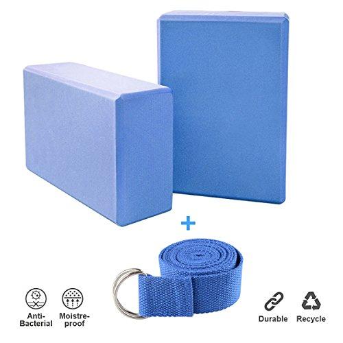 Creation 2er Set Yoga Blöcke/Yogablock/Yoga-Block mit 1 Stück Yogagurt für Blockaden Training Dehnübungen Anfänger und Fortgeschrittene (Blau) (Becken-gurt)