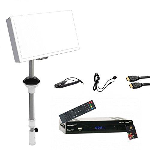 Pack Satelliten-Flach-Antenne Selfsat + Empfänger TNTSAT HD + Cable 12V + HDMI +-IR