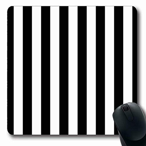 Luancrop Mousepads Schwarze Markisen-Streifen-Zusammenfassung weißes minimales Muster Nadelstreifen-Bengal-Entwurfs-parallele rutschfeste Spiel-Mausunterlage Gummilangmatte