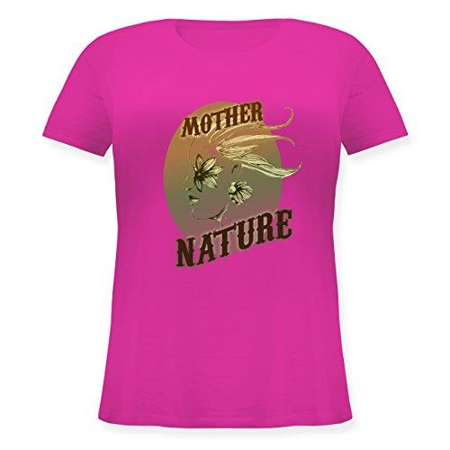 Vintage - Mother Nature - Lockeres Damen-Shirt in großen Größen mit  Rundhalsausschnitt Fuchsia