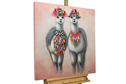 KunstLoft® Bild 'Look-Alike' 80x80cm | handbemalter Kunstdruck | Tier Lama Grau Rot Südamerika 3D-Effekt | signiertes Wandbild-Unikat | Acrylbild auf Leinwand | Modernes Kunst Bild | auf Keilrahmen