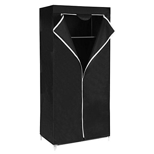 Songmics Resistente al Polvo Armario De Tela Para Ropa Color Negro 160 x 75 x 45 cm RYG83H