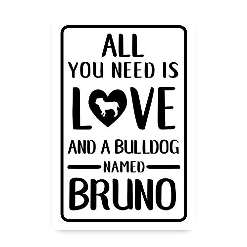 Tiukiu Personalized All You Need is Love and A Bulldog Metal Room Sign Metal Wall Art Aluminum Sign Custom Sign Metal Wall Sign