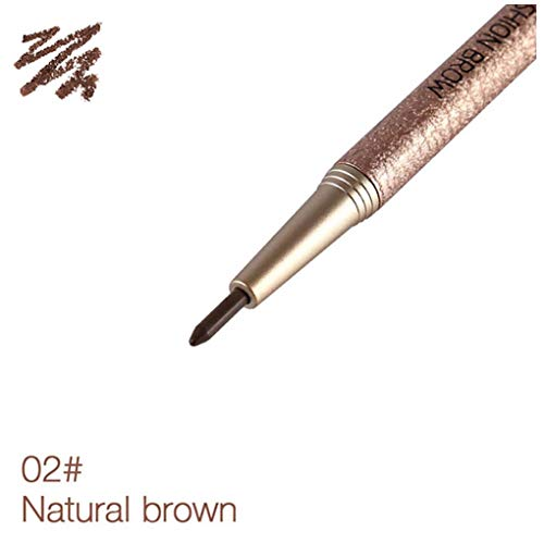 1Pack Dual Ends Eyebrow Pen Waterproof Brow Makeup Professional Brow Kit With Refill Soft Natural Daily Look Eyebrow Cosmetic Set(02 Brown)
