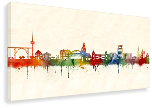 Kunstbruder Wandbild - Wuppertal Skyline Farbe (div. Formate) - Kunstdruck Leinwandbild Streetart...