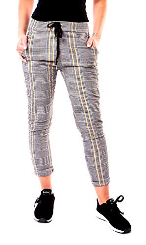 Easy Young Fashion Damen Lounge Stretch Hose Pepita Glencheck Sweathose Jogginghose Relaxpants Lang Baumwolle Kariert Schwarz-Weiß-Gelb S - 36 -
