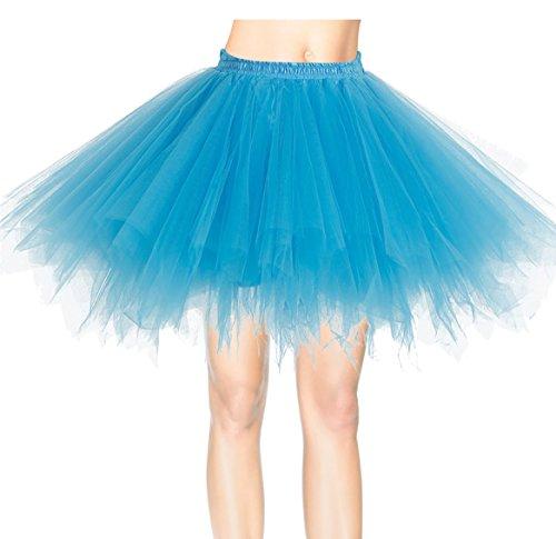 Tanz Günstige Kostüme Ballett (Dresstells Damen Tutu Unterkleid Kurz Ballett Tanzkleid Ballklei Abendkleid Gelegenheit Zubehör Blue)