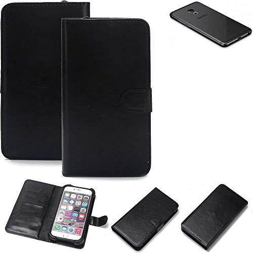 K-S-Trade Wallet Case Handyhülle Meizu Pro 6S Schutz Hülle Smartphone Flip Cover Flipstyle Tasche Schutzhülle Flipcover Slim Bumper schwarz, 1x