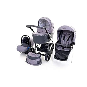 Venicci Carbo Lux 3-in-1 Travel System - Natural Grey - with Carrycot + Car Seat + Changing Bag + Apron + Raincover + Mosquito Net + 5-Point Harness and UV 50+ Fabric + Car Seat Adapters + Cup Holder   14