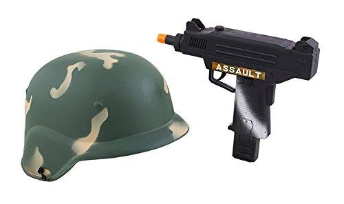 Helm Kostüm Soldat - Karnevalsbud - Soldaten Set - Kinder Kostüm Helm und Maschinenpistole, Grün
