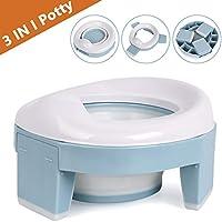 Asiento Inodoro Plegable para Niños 3 in 1 Orinal Portátil Reductor WC para Bebé con Piezas a Prueba de Salpicaduras Adaptador pare Casa y Viaje